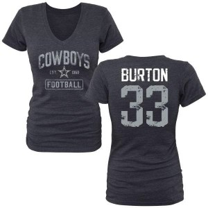 Deante Burton Dallas Cowboys Women's Navy by Name & Number Tri-Blend T-Shirt -