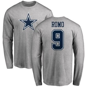 Tony Romo Dallas Cowboys Men's Pro Line by Branded Name & Number Logo Long Sleeve T-Shirt - Ash