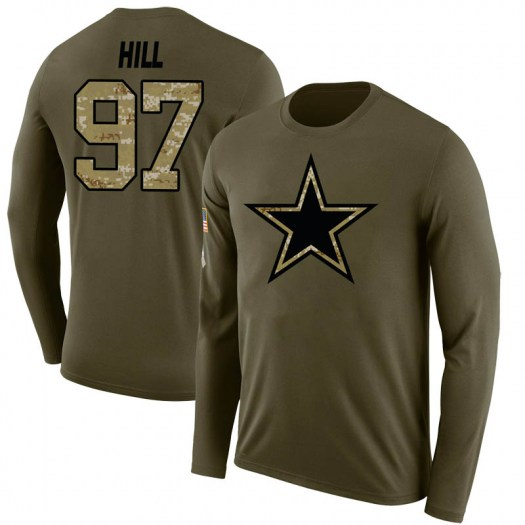Trysten Hill Dallas Cowboys Youth Legend Olive Salute to Service Sideline Long Sleeve T-Shirt