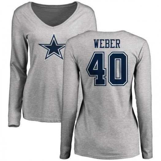 Mike Weber Dallas Cowboys Women's by Name & Number Logo Long Sleeve T-Shirt - Ash