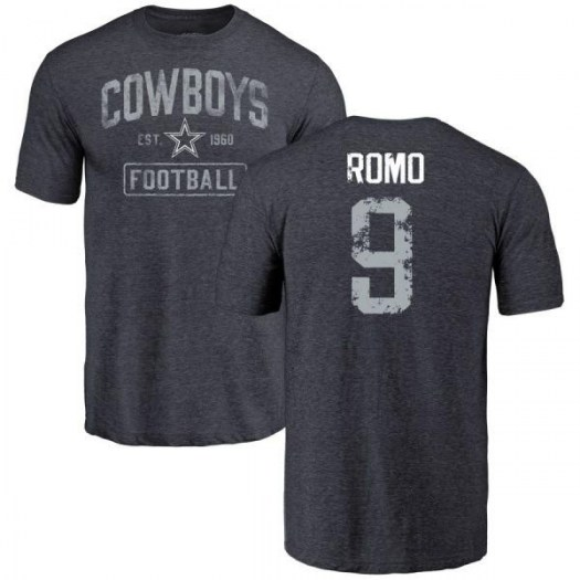 Tony Romo Dallas Cowboys Men's Navy Pro Line by Branded Name & Number Tri-Blend T-Shirt -